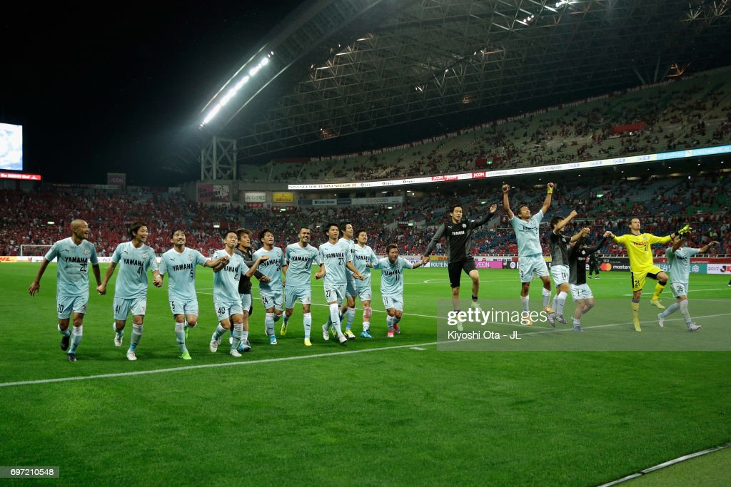 Jubilo Iwata players celebrate their 4-2 victory after the J.League J1 match between Urawa Red Diamonds and Jubilo Iwata at Saitama Stadium on June 18, 2017 in Saitama, Japan.