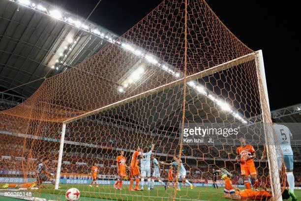 Jubilo Iwata players celebrate their team's first goal scored by Teruki Hara of Albirex Niigata during the JLeague J1 match between Albirex Niigata...