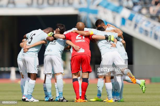 Jubilo Iwata players huddle at the start of the second half during the JLeague J1 match between Sanfrecce Hiroshima and Jubilo Iwata at Edion Stadium...