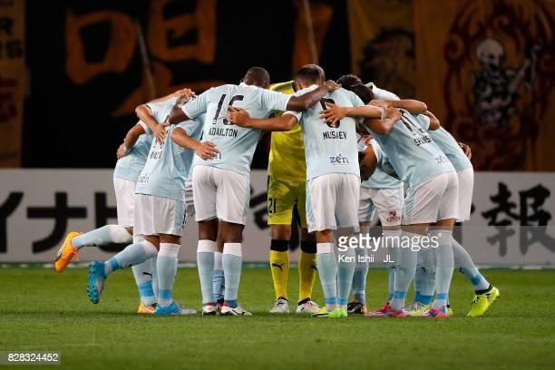 Jubilo Iwata players huddle during the JLeague J1 match between Vegalta Sendai and Jubilo Iwata at Yurtec Stadium Sendai on August 9 2017 in Sendai...