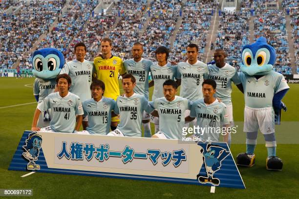 Jubilo Iwata players line up for the team photos prior to the JLeague J1 match between Jubilo Iwata and FC Tokyo at Yamaha Stadium on June 25 2017 in...