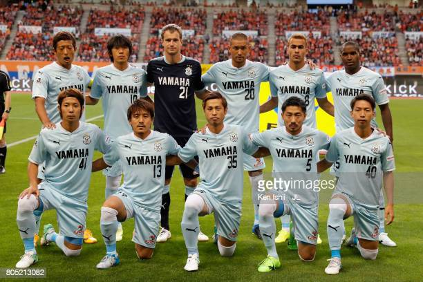 Jubilo Iwata players line up for the team photos prior to the JLeague J1 match between Albirex Niigata and Jubilo Iwata at Denka Big Swan Stadium on...