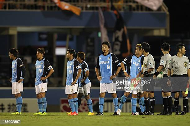 Jubilo Iwata players look dejected after loss during the JLeague match between Jubilo Iwata and Shimizu SPulse at Yamaha Stadium on October 27 2013...