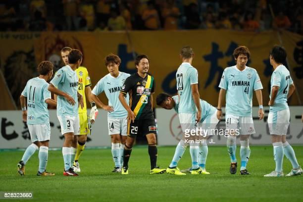 Jubilo Iwata players react after the scoreless draw in the JLeague J1 match between Vegalta Sendai and Jubilo Iwata at Yurtec Stadium Sendai on...