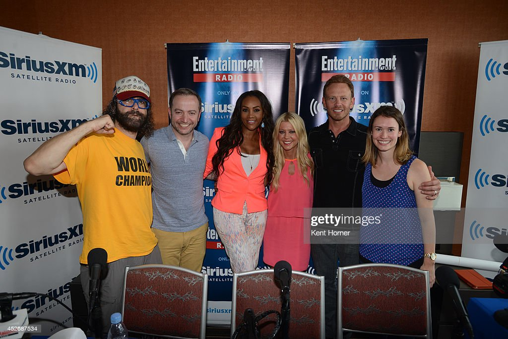 Juda Friedlander, Vivica Fox, Tara Reid and Ian Ziering pose with radio hosts Mario Correa and Julia Cunningham after being interviewed on SiriusXM's Entertainment Weekly Radio channel from Comic-Con 2014 at The Hard Rock Hotel on July 25, 2014 in San Diego, California.