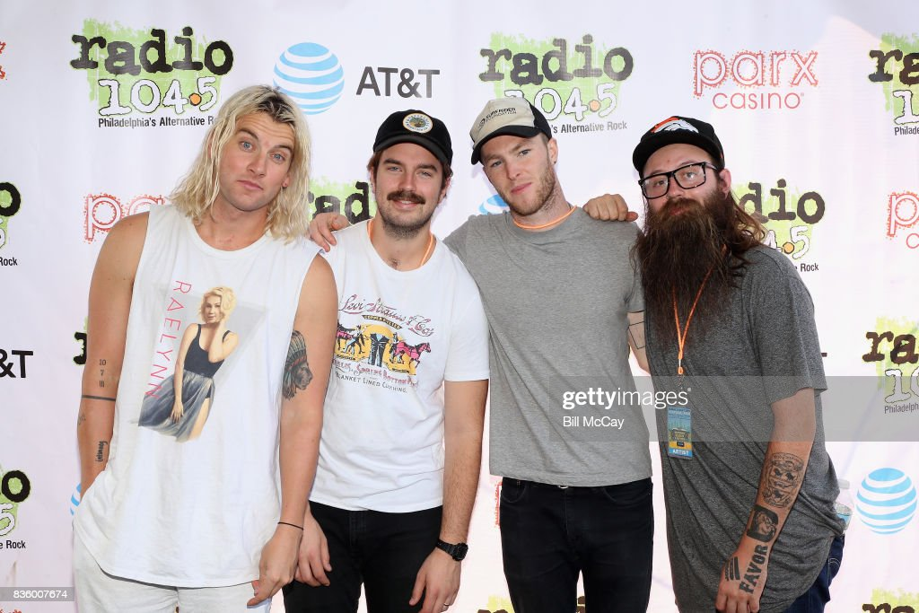 Judah Akers, Spencer Cross, Brian Macdonald and Nate Zuercher of the band Judah and The Lion pose at the Radio 104.5 Summer Block Party August 20 , 2017 in Philadelphia, Pennsylvania