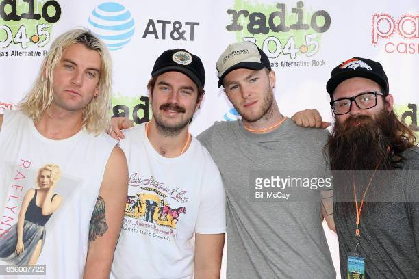 Judah Akers Spencer Cross Brian Macdonald and Nate Zuercher of the band Judah and The Lion pose at the Radio 1045 Summer Block Party August 20 2017...