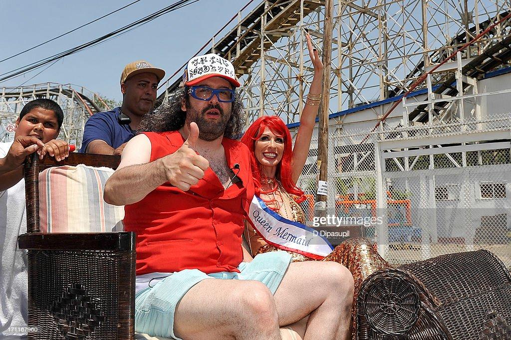 Judah Friedlander and Carole Radziwill attend the 2013 Mermaid Parade at Coney Island on June 22 2013 in New York City