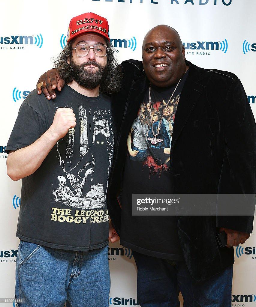 Judah Friedlander (L) and Faizon Love visit at SiriusXM Studios on March 1, 2013 in New York City.