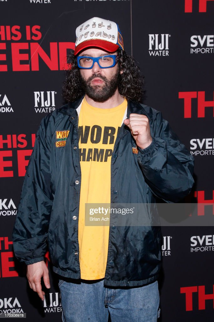 <a gi-track='captionPersonalityLinkClicked' href=/galleries/search?phrase=Judah+Friedlander&family=editorial&specificpeople=666026 ng-click='$event.stopPropagation()'>Judah Friedlander</a> attends a special New York screening of Columbia Pictures' 'This Is The End' presented by FIJI water on June 10, 2013 in New York City.