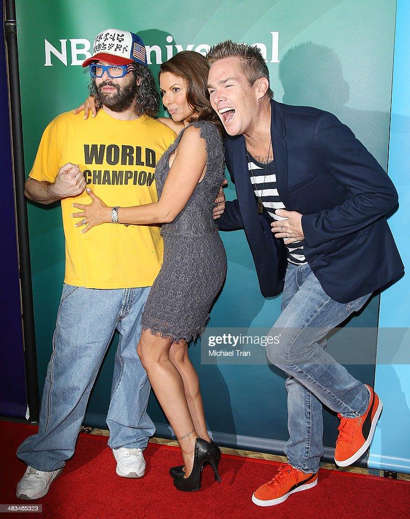 Judah Friedlander Kari Wuhrer and Mark McGrath arrive at the NBCUniversal's 2014 Summer Press Day held at Langham Hotel on April 8 2014 in Pasadena...