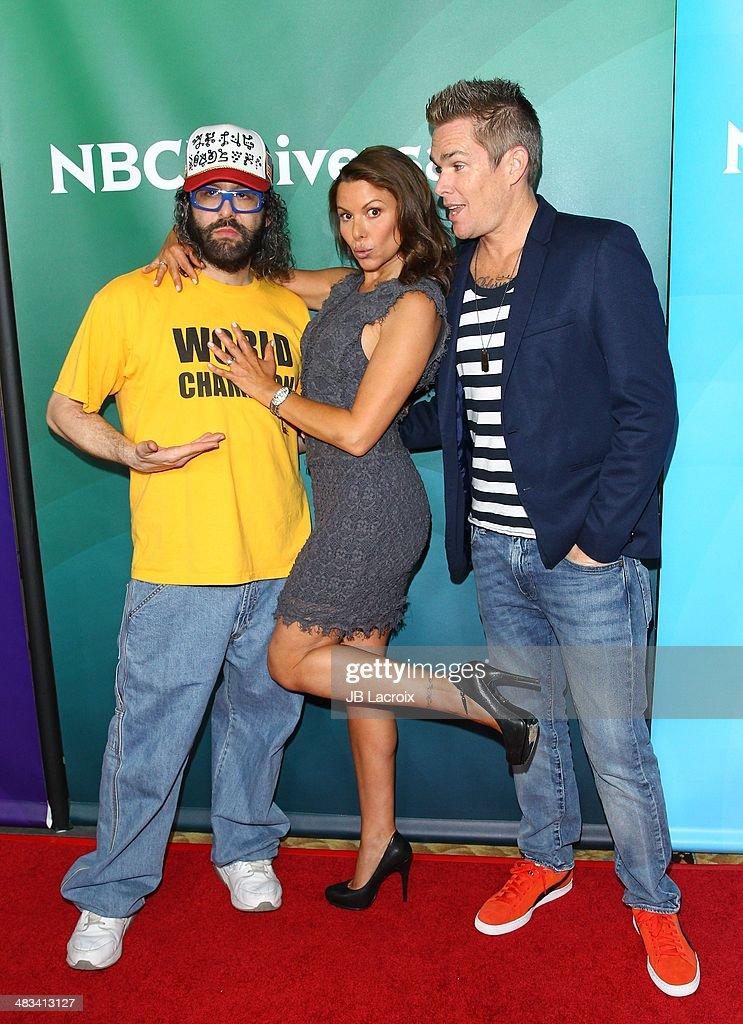 Judah Friedlander Kari Wuhrer and Mark McGrath attend the NBC/Universal's 2014 Summer Press Day held at the Langham Hotel on April 8 2014 in...