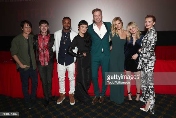 Judah Lewis Doug Haley King Bach Hana Mae Lee McG Samara Weaving Emily Alyn Lind and Bella Thorne attend the Los Angeles Premiere of 'The Babysitter'...