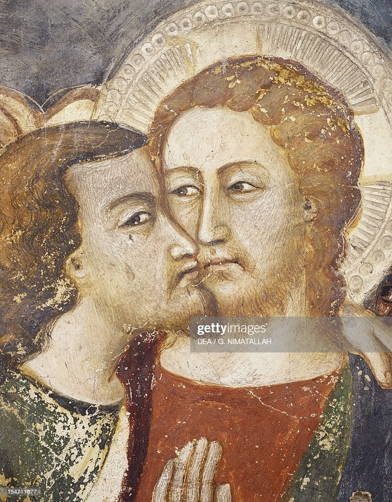 Judas' Betrayal, the Kiss, 14th century fresco from the Master Trecentesco of Sacro Speco School. Upper Church of Sacro Speco Monastery, Subiaco. Italy, 14th century.