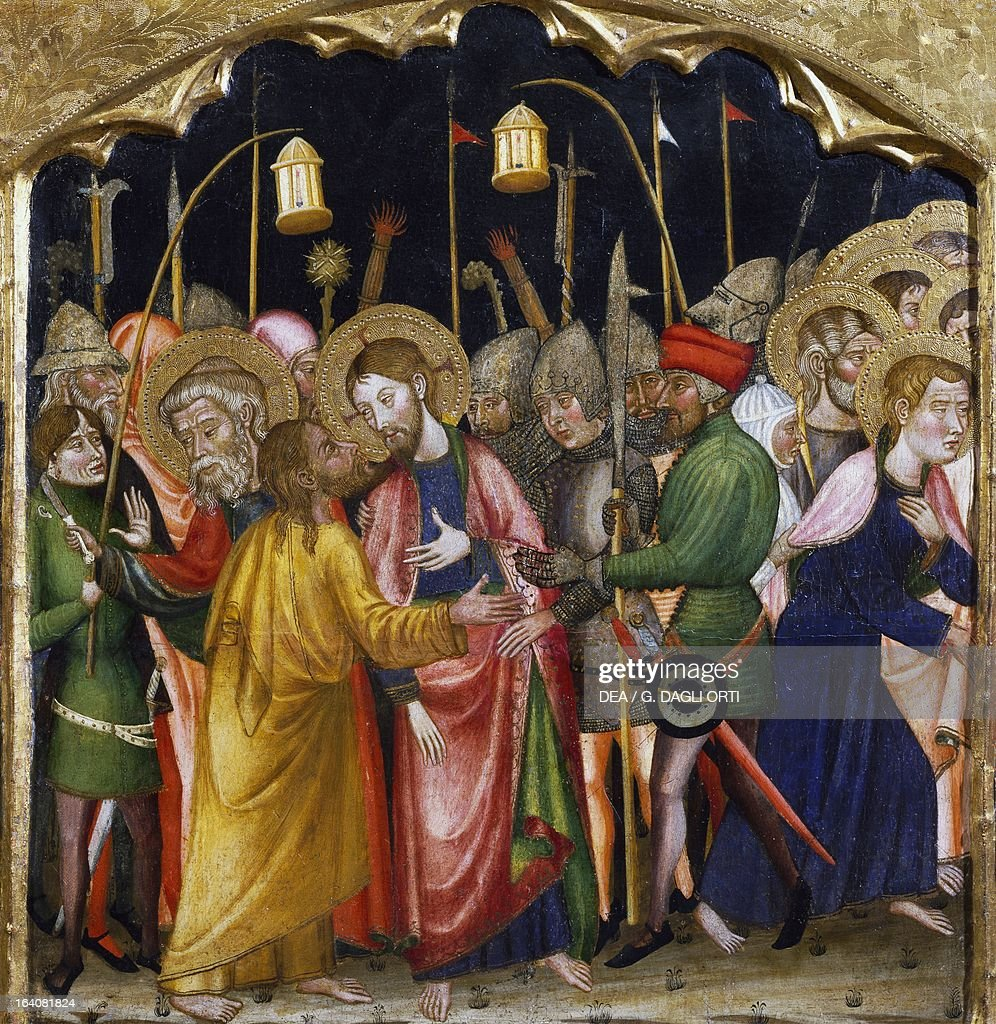 Judas' kiss, by the Master of Rubio (14th century), predella of the altarpiece from the Church of Santa Maria, Rubio, painting on wood. Vic, Museu Episcopal