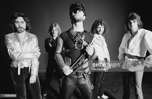Judas Priest British heavy metal band pose for a group studio portrait in January 1979