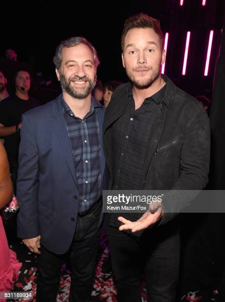 Judd Apatow and Chris Pratt attend Teen Choice Awards 2017 at Galen Center on August 13 2017 in Los Angeles California