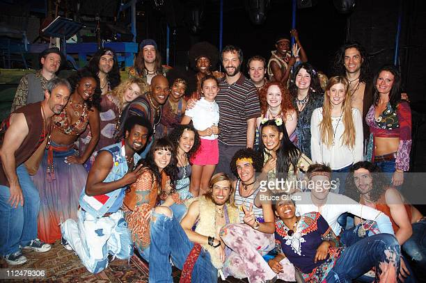 Judd Apatow and daughter Maude Apatow pose with the cast backstage at the musical 'Hair' on Broadway at The Al Hirschfeld Theater on August 5 2009 in...