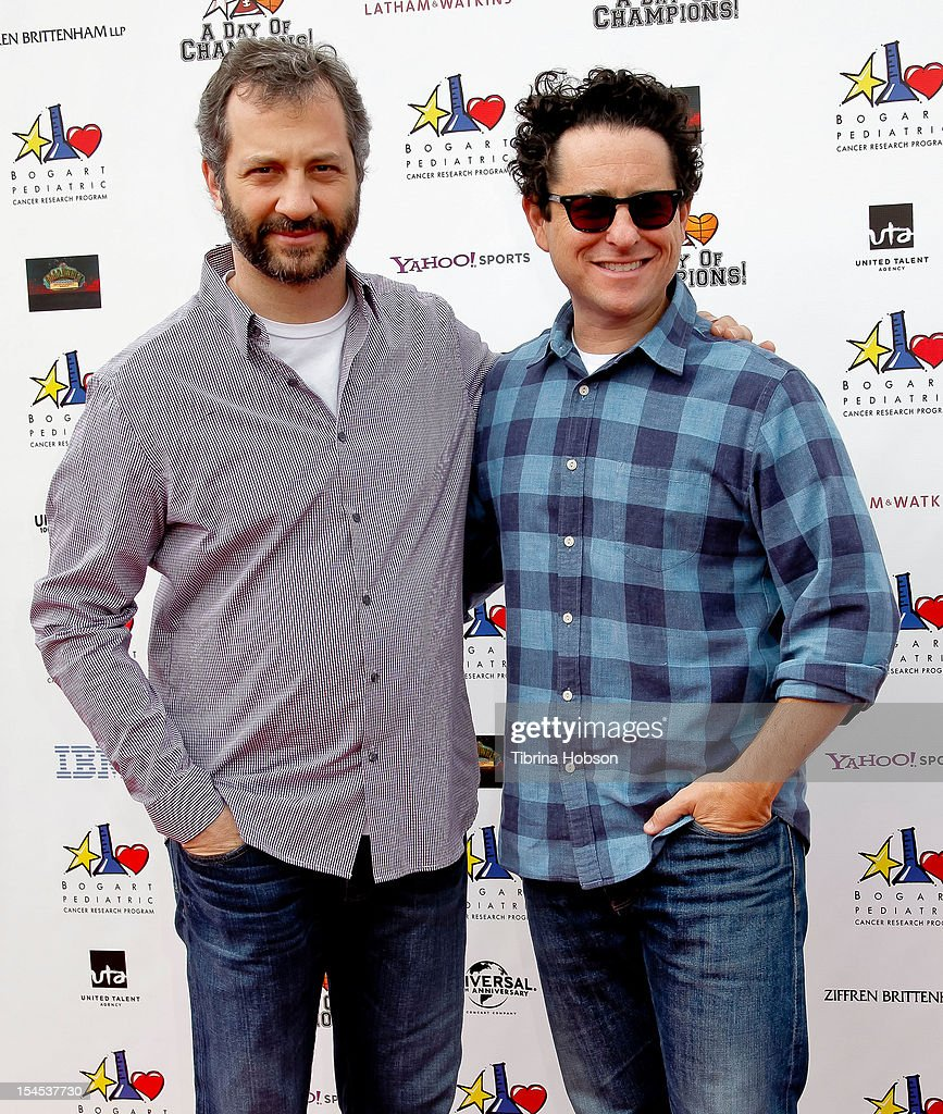 Judd Apatow and J.J. Abrams attend Yahoo! Sports presents 'A Day Of Champions' benefiting the Bogart Pediatric Cancer Research Program at Sports Museum of Los Angeles on October 21, 2012 in Los Angeles, California.