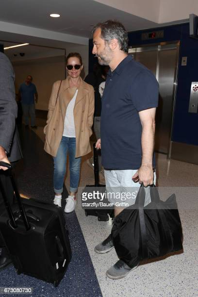 Judd Apatow and Leslie Mann are seen at LAX on April 25 2017 in Los Angeles California