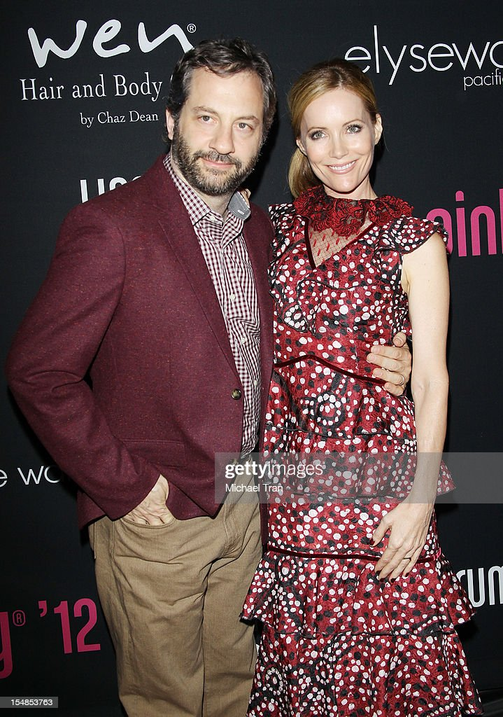 <a gi-track='captionPersonalityLinkClicked' href=/galleries/search?phrase=Judd+Apatow&family=editorial&specificpeople=854225 ng-click='$event.stopPropagation()'>Judd Apatow</a> (L) and <a gi-track='captionPersonalityLinkClicked' href=/galleries/search?phrase=Leslie+Mann&family=editorial&specificpeople=595973 ng-click='$event.stopPropagation()'>Leslie Mann</a> arrive at the 8th Annual Pink Party held at Hangar 8 on October 27, 2012 in Santa Monica, California.
