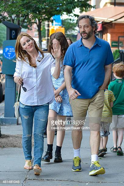 Judd Apatow and Leslie Mann with daughter Maude Apatow are seen on June 21 2013 in New York California
