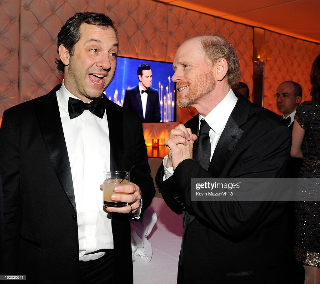 Judd Apatow and Ron Howard attend the 2013 Vanity Fair Oscar Party hosted by Graydon Carter at Sunset Tower on February 24, 2013 in West Hollywood, California.