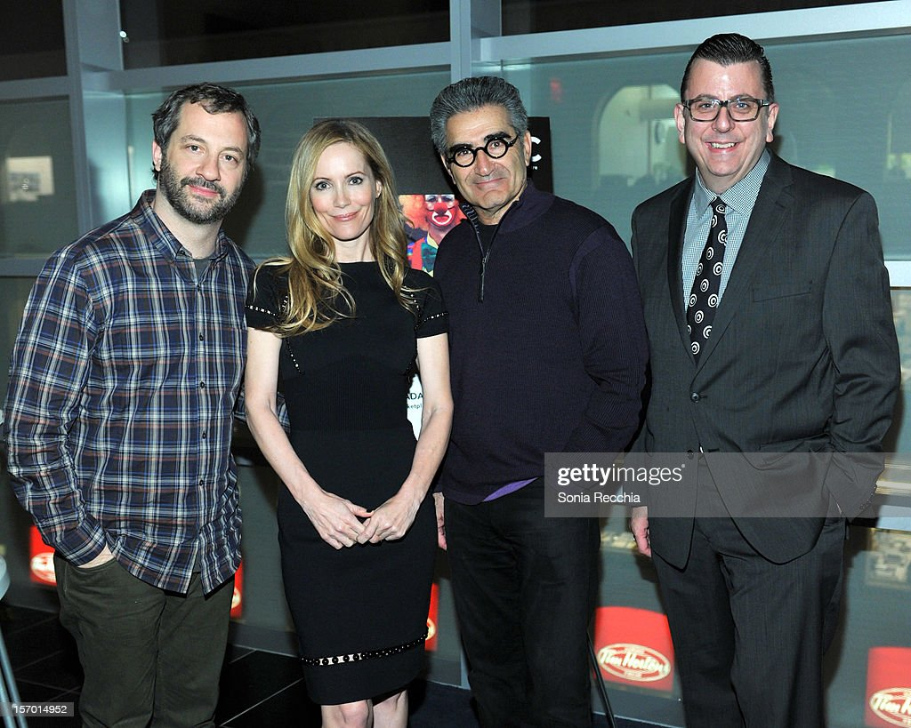 Judd Apatow, Leslie Mann, Eugene Levy and Richard Crouse attend CFC Presents An Evening With Leslie Mann And Judd Apatow at TIFF Bell Lightbox on November 26, 2012 in Toronto, Canada.
