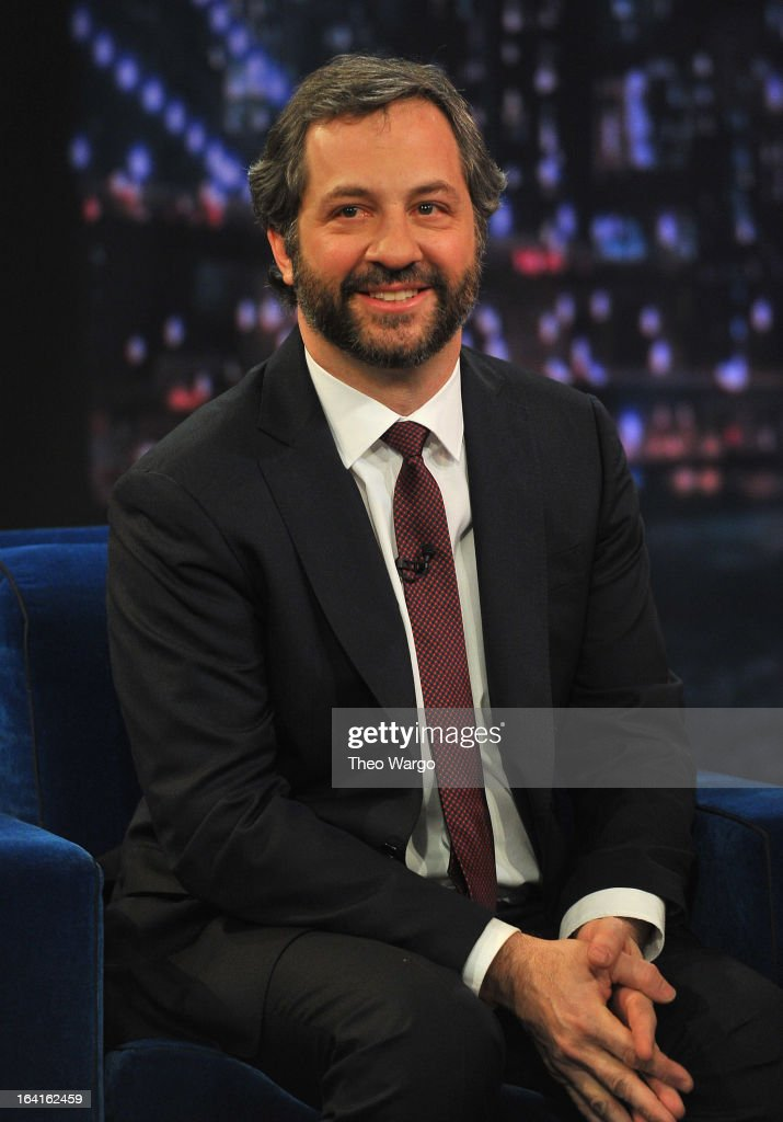 <a gi-track='captionPersonalityLinkClicked' href=/galleries/search?phrase=Judd+Apatow&family=editorial&specificpeople=854225 ng-click='$event.stopPropagation()'>Judd Apatow</a> visits 'Late Night With Jimmy Fallon' at Rockefeller Center on March 20, 2013 in New York City.