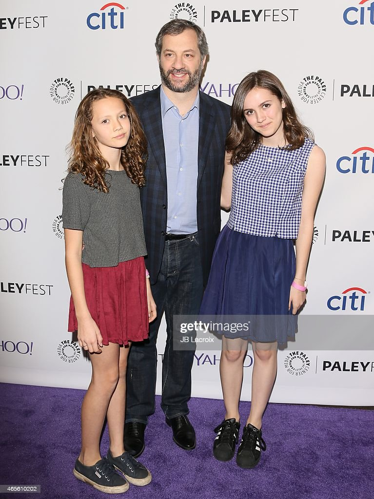 Judd Apatow with daughters Iris Apatow and Maude Apatow at The Paley Center For Media's 32nd Annual PALEYFEST LA 'Girls' at Dolby Theatre on March 8...