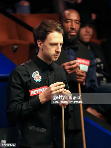 Judd Trump and Rory McLeod on day five of the Betfred Snooker World Championships at the Crucible Theatre Sheffield