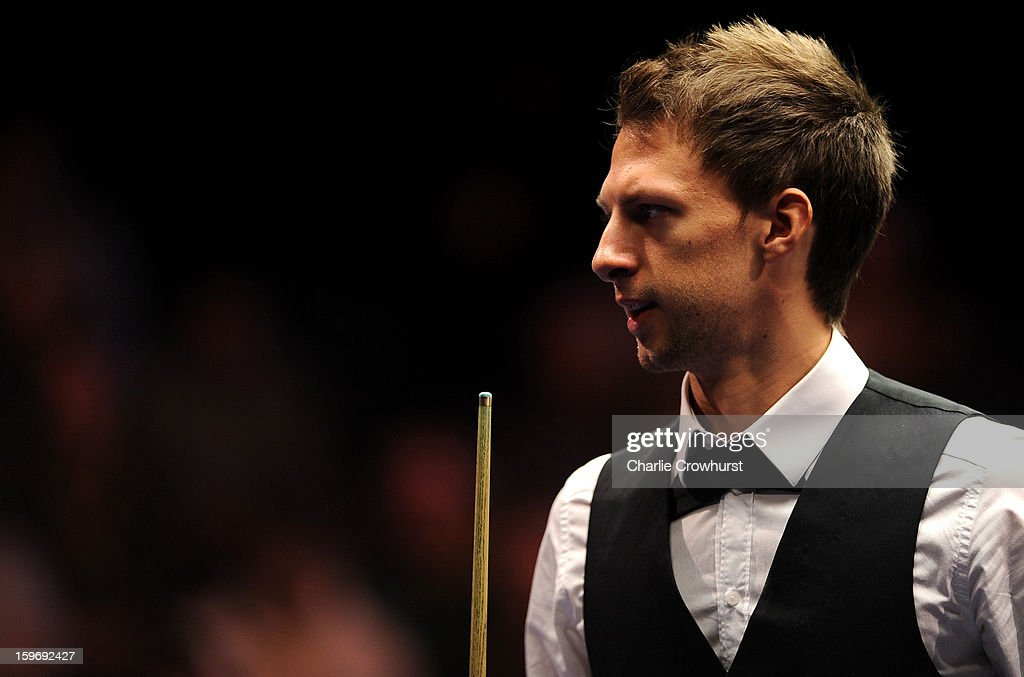 Judd Trump of England gets ready before the match during his quarter-final match against Graeme Dott of Scotland on day 6 of The Masters at Alexandra Palace on January 18, 2013 in London England.