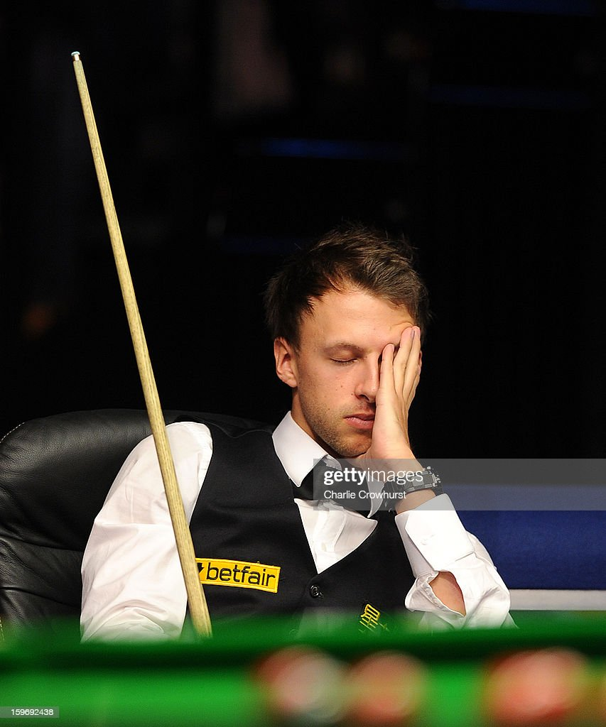 <a gi-track='captionPersonalityLinkClicked' href=/galleries/search?phrase=Judd+Trump&family=editorial&specificpeople=4254560 ng-click='$event.stopPropagation()'>Judd Trump</a> of England looks dejected during his quarter-final match against Graeme Dott of Scotland on day 6 of The Masters at Alexandra Palace on January 18, 2013 in London England.