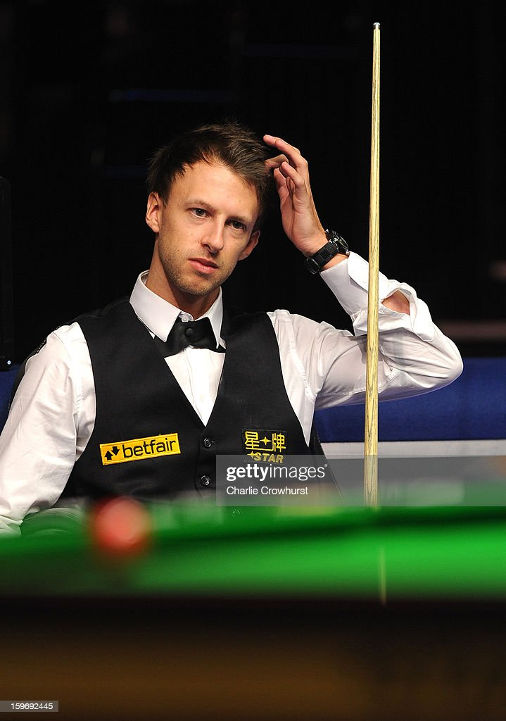 Judd Trump of England looks on puzzled during his quarter-final match against Graeme Dott of Scotland on day 6 of The Masters at Alexandra Palace on January 18, 2013 in London England.