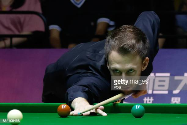 Judd Trump of England plays a shot during his first round match against Daniel Wells of Wales on day two of Evergrande 2017 World Snooker China...