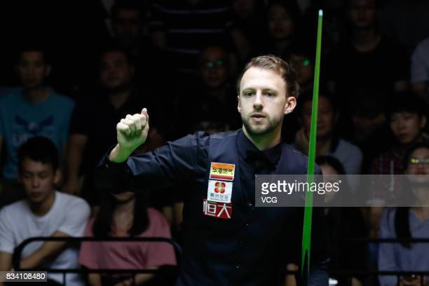 Judd Trump of England reacts during his first round match against Daniel Wells of Wales on day two of Evergrande 2017 World Snooker China Champion at...
