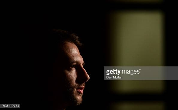 Judd Trump of England talks to the media following his victory over Neil Robertson of Australia in their quarter final match during Day Six of The...
