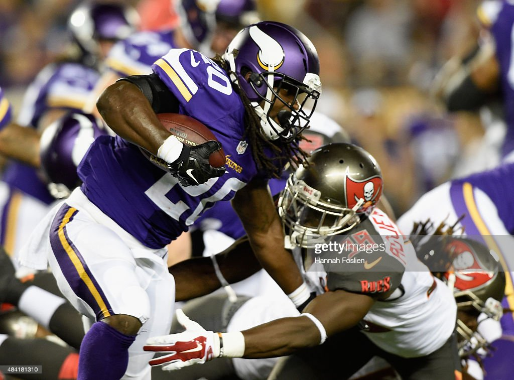 Jude Adjei-Barimah #38 of the Tampa Bay Buccaneers tackles DuJuan Harris #20 of the Minnesota Vikings during the fourth quarter of the preseason game on August 15, 2015 at TCF Bank Stadium in Minneapolis, Minnesota. The Vikings defeated the Buccaneers 26-16.