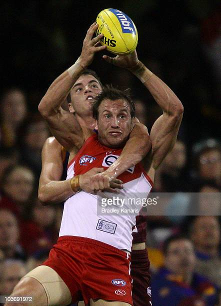Jude Bolton of the Swans takes a mark during the round 22 AFL match between the Brisbane Lions and the Sydney Swans at The Gabba on August 28 2010 in...
