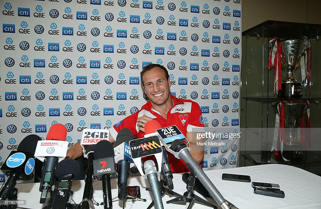 Jude Bolton speaks to the media after announcing his retirement at the end of the season during a Sydney Swans AFL press conference at Moore Park on August 26, 2013 in Sydney, Australia.