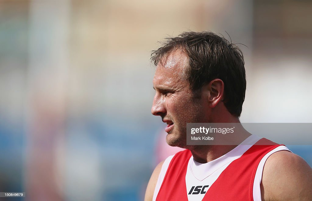 Jude Bolton watches on during a Sydney Swans AFL training session at Sydney Cricket Ground on August 28, 2012 in Sydney, Australia.