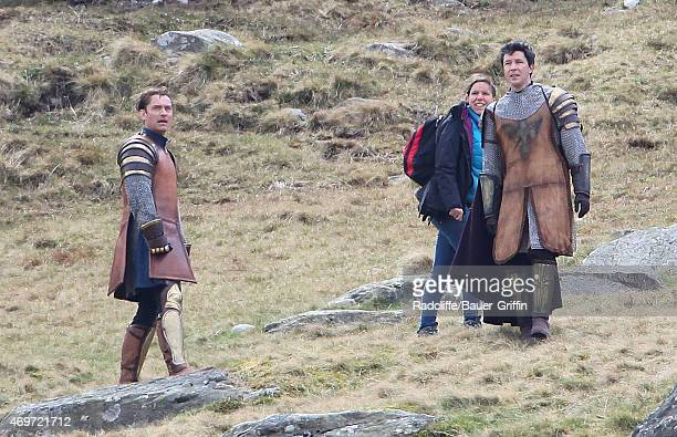 Jude Law and Aidan Gillen film scenes in the upcoming film Knights of the Round Table on April 14 2015 in London United Kingdom