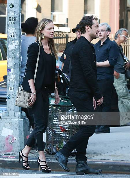 Jude Law and Alicia Rountree are seen in New York on June 19 2014 in Los Angeles California