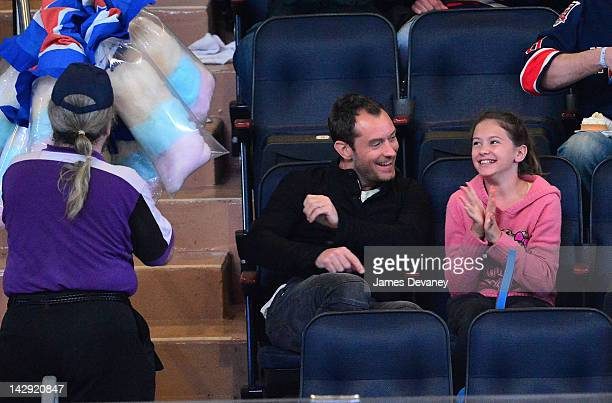 Jude Law and Iris Law attend the Ottawa Senators vs New York Rangers game at Madison Square Garden on April 14 2012 in New York City