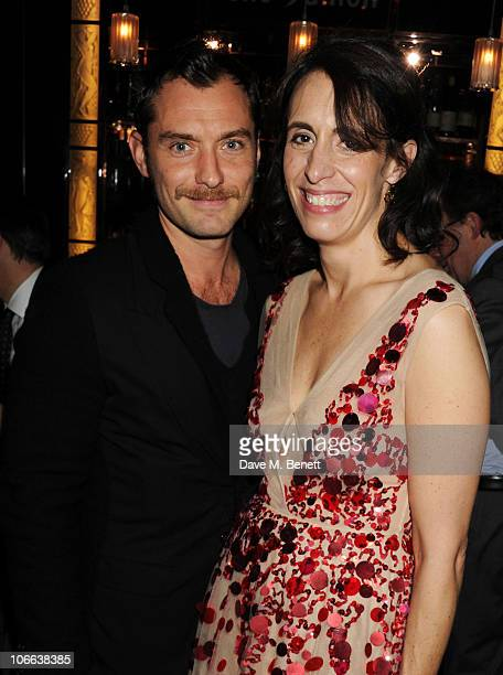 Jude Law and Lauren Goldstein Crowe attend the launch party for the Isabella Blow book by Lauren Goldstein Crowe at the Cigar Bar at Claridge's on...
