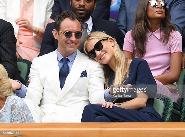 Jude Law and Phillipa Coan attend day eleven of the Wimbledon Tennis Championships at Wimbledon on July 08 2016 in London England
