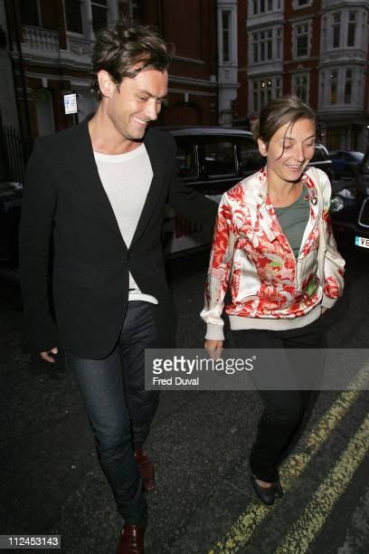 Jude Law and sister Natasha Law during Robert Mapplethorpe Exhibition Private View Outside Arrivals at Alison Jacques Gallery in London Great Britain
