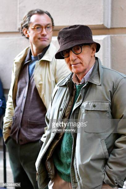 Jude Law and Woody Allen seen on location for Woody Allen's untitled movie on October 18 2017 in New York City