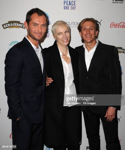 Jude Law Annie Lennox and founder of 'Peace One Day' and director of 'The Day After Peace' Jeremy Gilley during the Peace One Day Event to celebrate...