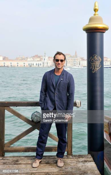 Jude Law arrives at the Cipriani Hotel during Venice Film Festival to showcase short film The Gentleman's Wager in partnership with JOHNNIE WALKER...